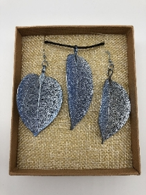 Blue Lotus leaf necklace and earring set