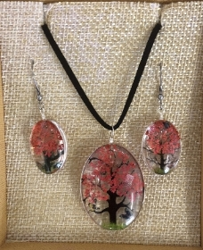 Pink tree of life necklace and earring set